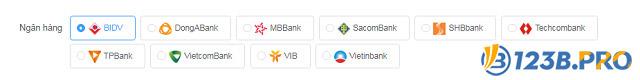 123B hỗ trợ người chơi nạp tiền thông qua các ngân hàng