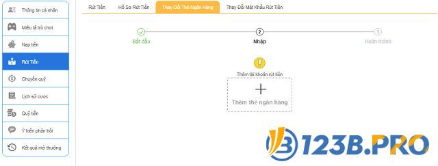 Rút tiền lần thứ 2 tại 123B không cần thêm tài khoản ngân hàng