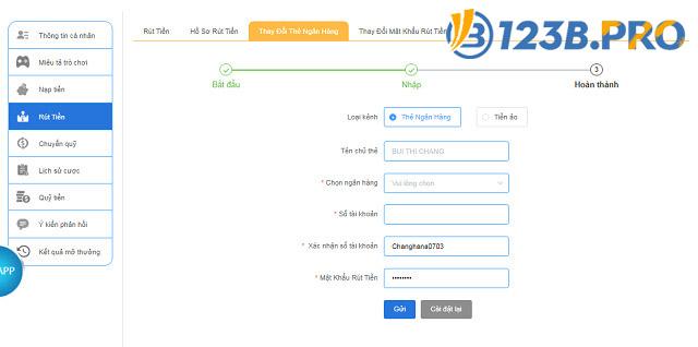 Thêm tài khoản ngân hàng để rút tiền tại 123B