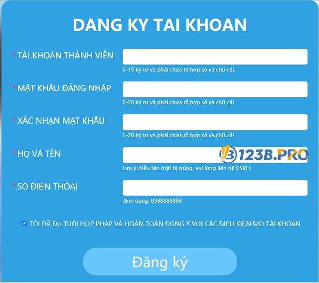 Biểu mẫu đăng ký tài khoản thành viên mới