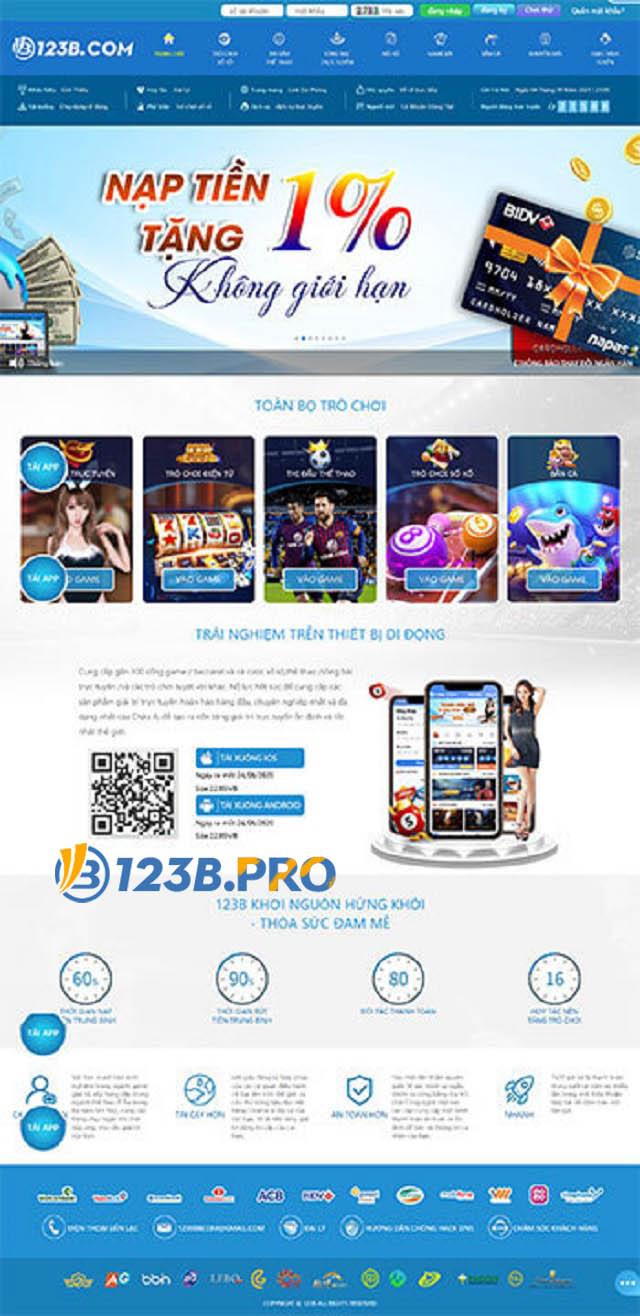 Giao diện app 123B hiện đại