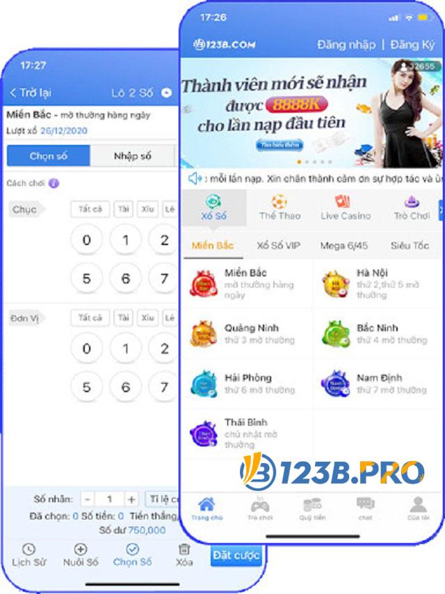 Ứng dụng 123B Mobile